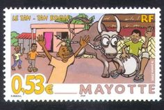 Mayotte-2005-Festival-Cattle-Cow-Drummer-Animation-Animals-Nature-1v-n39551