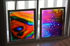 window art with glue and food colouring (on glass frames)