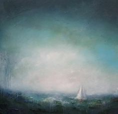 A rich and atmospheric emerald seascape from my Coastal Collection. Inspired by my visits to the Northumberland Coast. Deep green tones with a sailing boat focal point. Contemporary Landscape, Contemporary Artists, Seascape Paintings, Landscape Paintings, Northumberland Coast, Affordable Art, Summer Art, Beautiful Paintings, Artist At Work
