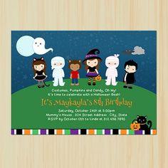 Children's Halloween Birthday Party Invitation | partytimedecor - Cards on ArtFire