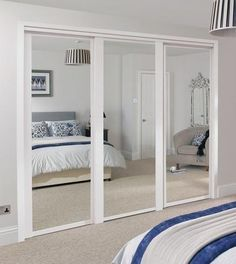 56 trendy bedroom closet ideas built in wardrobe mirror door White Sliding Wardrobe, Bedroom Closet Doors Sliding, Mirrored Wardrobe Doors, Mirror Closet Doors, Mirror Door, Closet Bedroom, Home Bedroom, Mirror Bathroom, Ikea Closet
