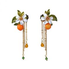 Boucles d'oreilles orange, fleur d'oranger et chaînes, bijoux fantaisie Paris