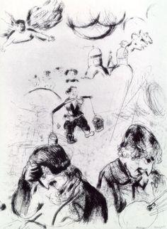 'Gogol et Chagall', gravure de Marc Chagall (1887-1985, Belarus)