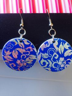 Earrings ~ Royal Blue Disc Earrings ~ holographic silver floral design ~ drop earrings ~ fashion jewellery ~ costume jewellery by Nerdacious on Etsy