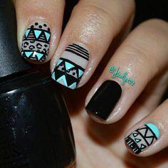 Aztec black  blue nails