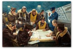 After the Mission by Gil Cohen  A B-17 crew is being debriefed by an intelligence officer, whose job it is to collect first-hand, while memo...