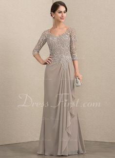 A-Line V-neck Floor-Length Chiffon Lace Mother of the Bride Dress With Beading (008164097) - DressFirst