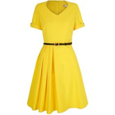 Yumi Pleated Day Dress ($86) ❤ liked on Polyvore featuring dresses, women, yellow, yellow dress, slimming dresses, short skater dress, pleated skater dress and pleated dress