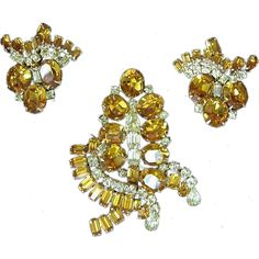 Kramer of New York , Signed Giant Pin,Brooch and Earrings Set Demi Parure