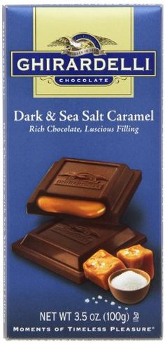 Authentic Ghirardelli Chocolate Squares Bar, Dark and Sea Salt Caramel, 3.5-Ounce (Pack of 12), ,