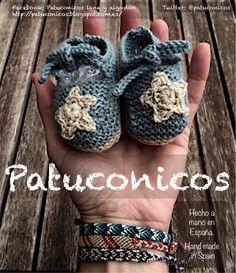 """Patuconicos modelo """"Ataditas"""" para él o para ella verde mar con estrella y suela kaki talla 0 (7 cm) Precio 12€ (gastos de envío no incluidos):   Patucos para bebé: diferentes, bonitos y cómodos de poner y de llevar. Hecho a mano en España con lana o algodón.   Patucos para todos los bebes grandes, pequeñitos o con prisa por nacer (tallas 0-1 mes, de 0-3 meses o 3-6 meses)."""