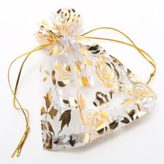 25pcs/set Gold Rose Organza Jewelry Wedding Gift Pouch Bags 7x9cm 3X4 Inch Mix Color for Party Holiday New Year Use