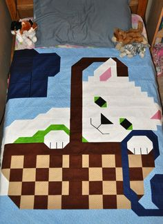 Kitty Cat Quilt Pattern in multiple sizes PDF by CountedQuilts