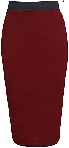 Womens Ladies Elasticated Waistband Plain Stretchy Pencil Bodycon Midi Skirt