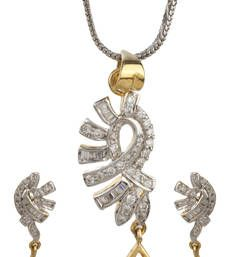 Shop American diamond jewellery online for women at best discounted prices from our unique design collection of American jewelry sets including necklaces, pendants & earrings. American Diamond Jewellery, American Jewelry, Diamond Jewelry, Bridal Jewellery Sets Online, Bridal Jewelry Sets, Pendant Earrings, Jewelry Shop, Pendants, Peace