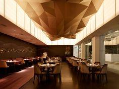 Modern Minimalist Restaurant Design with Green Color Scheme: Elegant And Round Small Dining Table Furniture Ideas Minimalist Restaurant Desi...