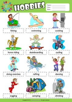 Hobbies ESL Printable Picture Dictionary, Vocabulary Matching Exercise, Word Search Puzzle, Crossword Puzzle Worksheets for Kids! Best Hobbies For Men, Unusual Hobbies, Easy Hobbies, Hobbies For Kids, Hobbies To Try, Hobbies That Make Money, Hobbies And Interests, Vocabulary Worksheets