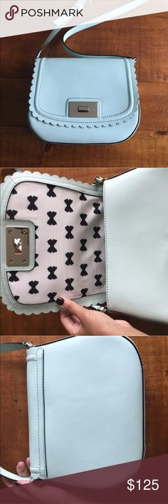 Kate Spade Mint Scalloped Crossbody Gorgeous in like new condition kate Spade leather Crossbody. Super cute interior! kate spade Bags Crossbody Bags