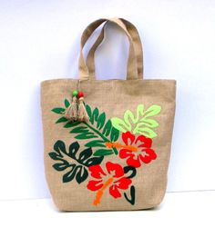 Tropical print handmade summer  jute tote by Apopsis on Etsy,