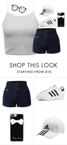 """""""Untitled #242"""" by tamarabeautyx ❤ liked on Polyvore featuring LE3NO, adidas and Casetify"""