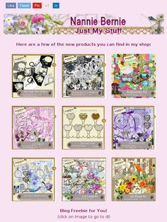 """Ad:New Scrapkits """"Mainly Black n White"""" & """"Kiddiwinks"""",""""Just Pink"""",Mainly Black'n'White Quick Page Album, and Damask Clips Designer Resource CU from Nannie Bernie!https://madmimi.com/s/0c0315"""