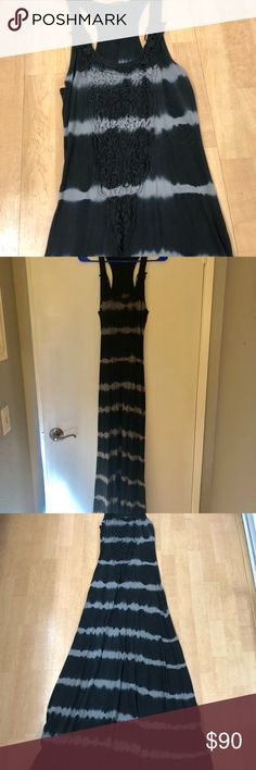 Maxi Dress Boutique Long Maxi Dress - tye dye with Pretty embroidery around the neck. Razor back. Rarely worn Dresses Maxi