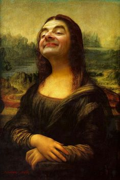 Mona Lisa highjacked by Mr Bean! I'm not exactly sure why this crazy photo-manipulation of Mr Bean as Leonardo Da Vinci's Mona Lisa has. Mr. Bean, Funny Art, Funny Pics, Funny Pictures, Hilarious, Funniest Pictures, Art Pictures, Mona Lisa Parody, Caricature Artist