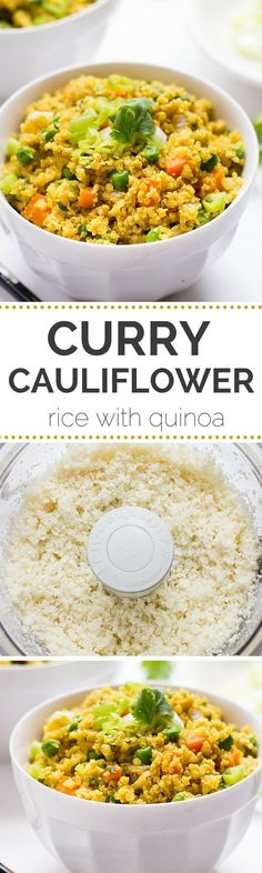 Curry Cauliflower Rice with Quinoa - a quick easy and vegetarian meal everyone…