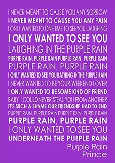 Purple Rain Prince Lyrics Print Poster A4 Size Inspiring Co Uk Kitchen Home