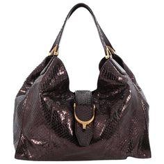 48a5f410f Gucci - Medium soft black python Stirrup tote bag ($925) Gucci Models, Gucci.  1stdibs.com