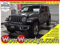 "Check out this NEW 2019 Jeep Wrangler Unlimited Sahara, equipped with a 2.0L I4 Engine, Convertible, Leather & Heated Seats, 8.4"" Touchscreen Media Center w/Navigation, Remote Start, Alpine Sound System, Tow Package, And Keyless Entry! Boasts 24 Highway MPG and 22 City MPG! This Jeep Wrangler Unlimited delivers a Intercooled Turbo Premium Unleaded I-4 2.0 L engine powering this Automatic transmission. Urethane Gear Shift Knob, Single Stainless Steel Exhaust, Fixed Antenna. #2019Jeep #Wrangler"