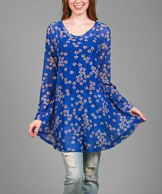 Love this Blue Burnout Floral Swing Tunic - Plus on #zulily! #zulilyfinds