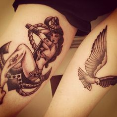 sailor girl and anchor thigh tattoo