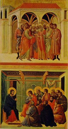 Duccio di Buoninsegna - Maestà - Retro - Patto di Giuda e Congedo dagli Apostoli - 1308-11 - Tempera e oro su tavola - Museo dell'Opera del Duomo, Siena