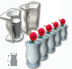 Reusable Vase Molds Suitable for various uses such as: concrete, cement, resin, clay, pottery, plaster