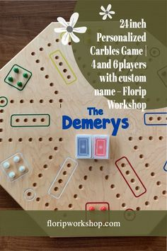 Looking for a new family game for game night? Try Carbles! This great, kid-friendly game also goes by Wahoo or Aggravation. This double-sided (4 and 6 players), handcrafted Carbles Game is made from 24 x 24 Maple plywood, and is precision shaped in either an octagon or circle. The start, home, and goals are all outlined in colored epoxy resin for a very professional look. It also includes natural stain and water-based polyurethane to ensure this family game is protected for many years of… Colored Epoxy, Game 4, Children Toys, Christmas Delivery, Family Games, Game Night, Deck Of Cards, Board Games
