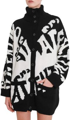 Valentino cardigan black And White cashmere Waves Print On The Front made In Italy [/ul Black Cardigan, Valentino, Cashmere, Waves, Italy, Black And White, Knitting, Coat, Sweaters