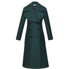Flow The Label Navy Green Wool Coat (13.039.085 VND) ❤ liked on Polyvore featuring outerwear, coats, double breasted coat, double breasted woolen coat, wool coat, woolen coat and navy wool coat