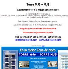 Torre MJ5 y MJ6 - 809.378.0555 Apartamentos en la mejor zona de Naco