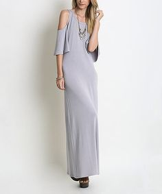 Another great find on #zulily! Silver Shoulder-Cutout Maxi Dress #zulilyfinds