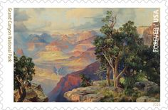 """The latest Grand Canyon stamp image is a detail of """"The Grand Canyon of Arizona, from Hermit Rim Road,"""" by artist Thomas Moran (1837–1926)."""