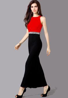 Red Plain Rhinestone Ruffle Sleeveless Dress