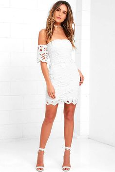 59.00 Now is your time to stun in the Sweet Retreat Off White Lace Off-the-Shoulder Bodycon Dress! This eyelet lace dress has sheer off-the-shoulder sleeves (with elastic), and a fitted bodice with no-slip strip. Scalloped hem and exposed silver back zipper with clasp.