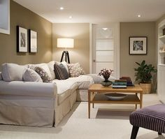 The Best Paint Colours for a Dark Room / Basement - Kylie M Interiors _ Beige and Khaki colours for a basement!