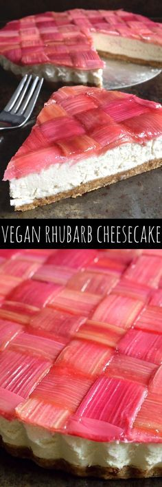 This vegan woven-rhubarb cheesecake looks beautiful, tastes delicious and is surprisingly simple to make with just a few ingredients.