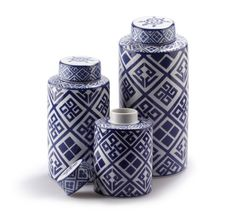 A pattern that's modern, graphic and exclusive to C. Wonder gives this set of cylindrical jars a lively feel. Arrange the canisters as a graduated grouping or remove their lids to use as vases.