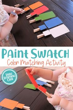 Paint Swatch Matching Game - Little Learning Club. color matching and fine motor activity in one! Great educational indoor activity for preschoolers and toddlers