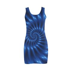 Glossy Blue Spiral Fractal Bodycon Dress by KittyBitty with free shipping!