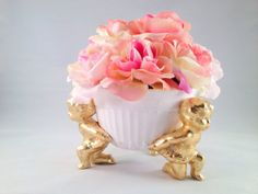 Items similar to Vintage shabby chic bowl with gold leafed cherubs and pink roses on Etsy And July, Vintage Shabby Chic, Beautiful Things, October, Homemade, Trending Outfits, Unique Jewelry, Handmade Gifts, Gold