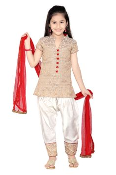 Chanderi Brocade Salwar Suit Style Note: Make your little princess to be the blink in every ones eyes dressing her in this beige shade K&U Chanderi brocade salwar suit. Kameez featuring foliage patterns all over. Comes with matching bottom and dupatta. http://bit.ly/SdWxOR